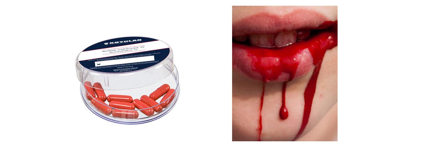 Queste speciali capsule sono realizzate in gelatina e riempite di una  polvere di sangue finto. La persona morde la capsula e la polvere colora la  saliva! 4971bd69dc6a